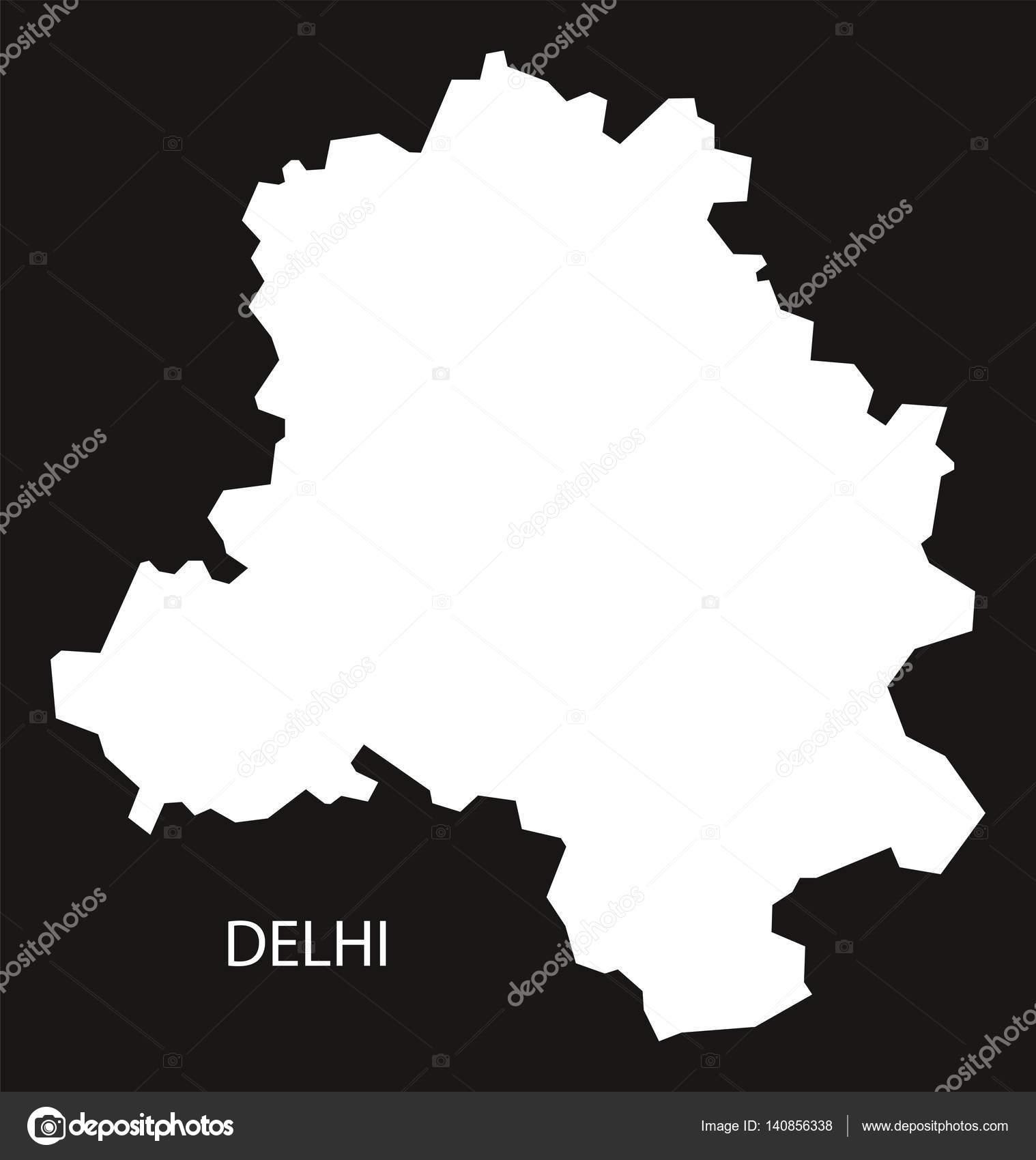 Delhi India Map Black Inverted Stock Vector C Ingomenhard 140856338
