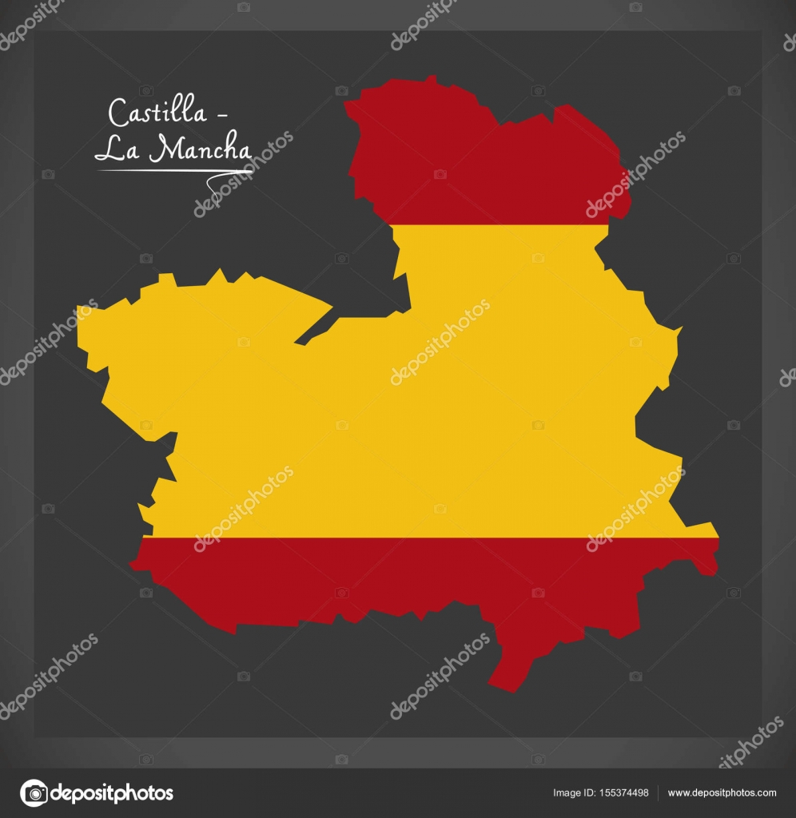 La Mancha Spain Map.Castilla La Mancha Map With Spanish National Flag Illustration