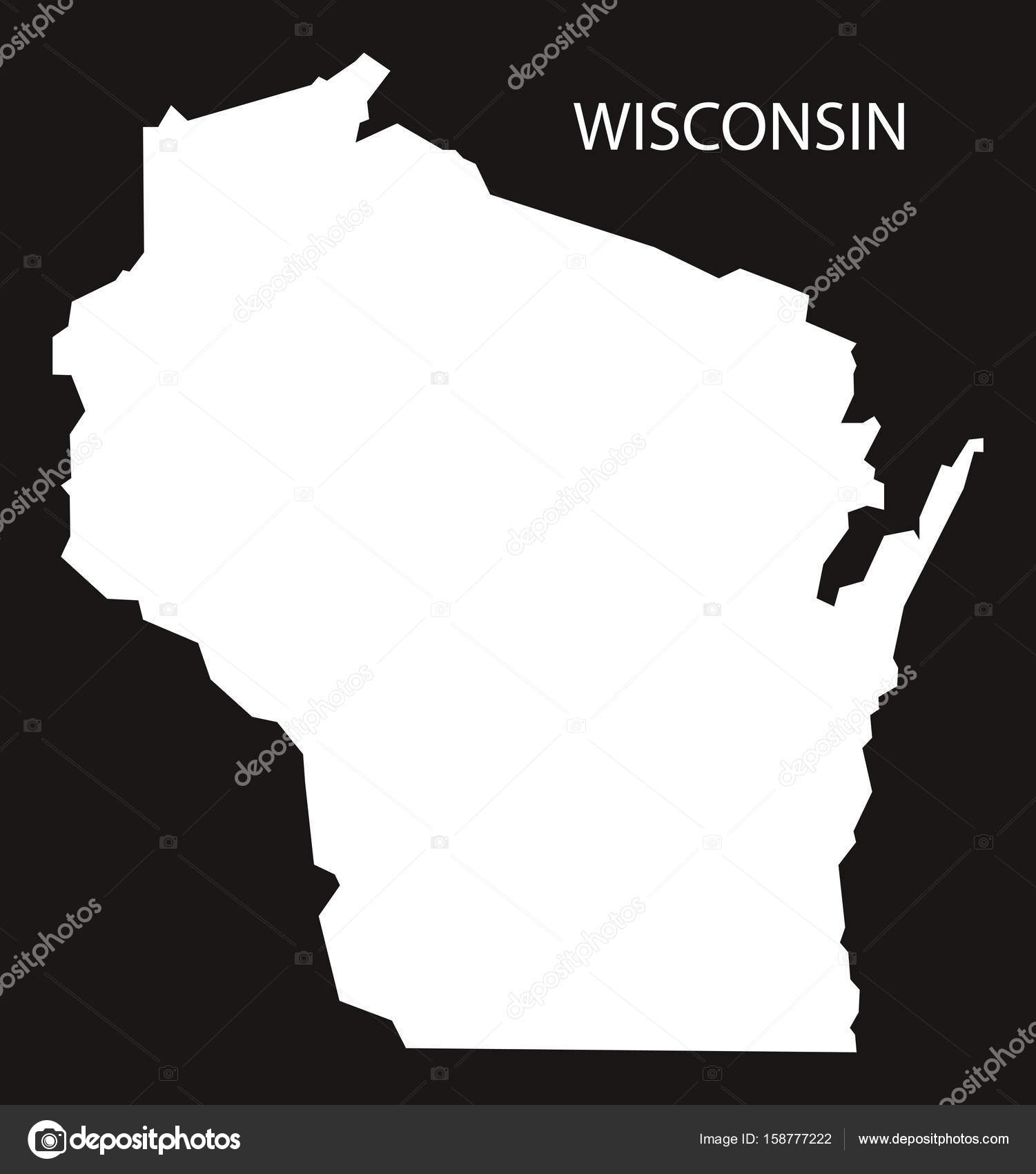 Wisconsin USA Map black inverted silhouette — Stock Vector ...