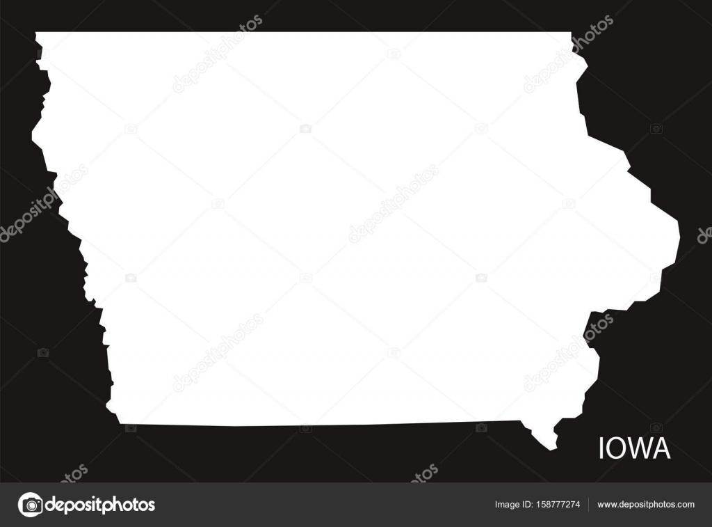 Iowa On Usa Map.Iowa Usa Map Black Inverted Silhouette Stock Vector C Ingomenhard