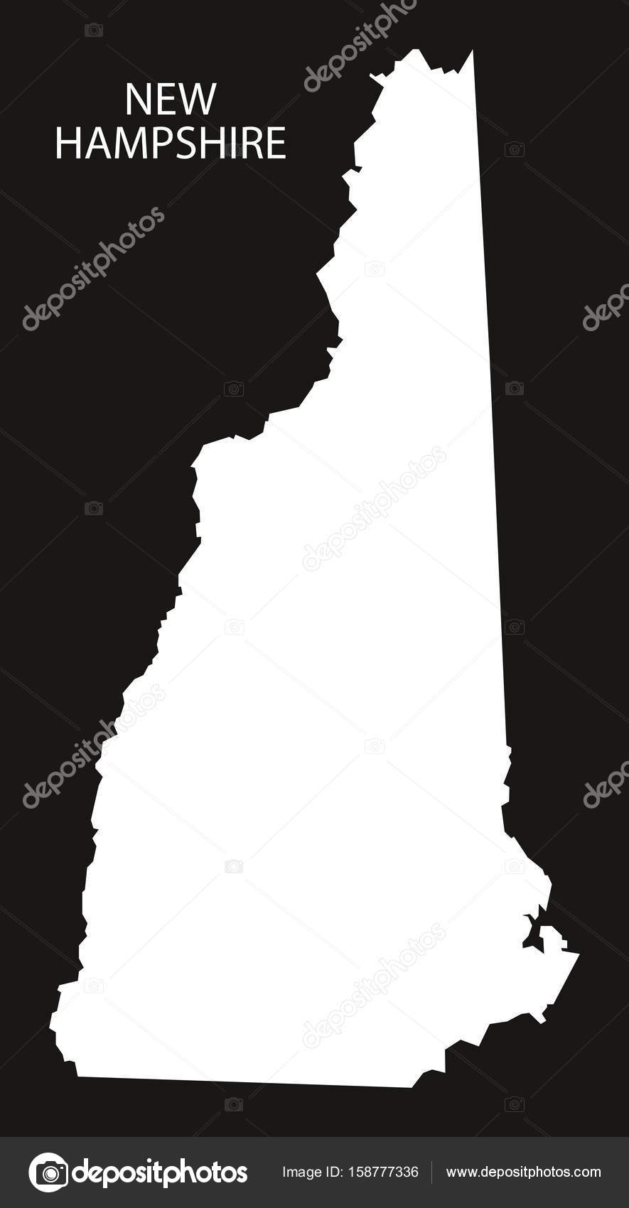New Hampshire Usa Map Black Inverted Silhouette Stock Vector