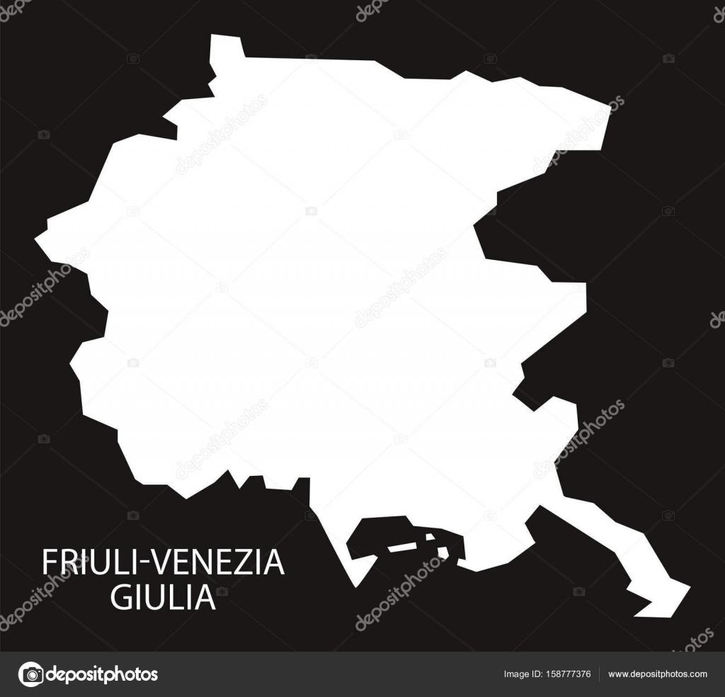 Cartina Italia Friuli Venezia Giulia.Friuli Venezia Giulia Italia Mappa Nero Invertito Sagoma