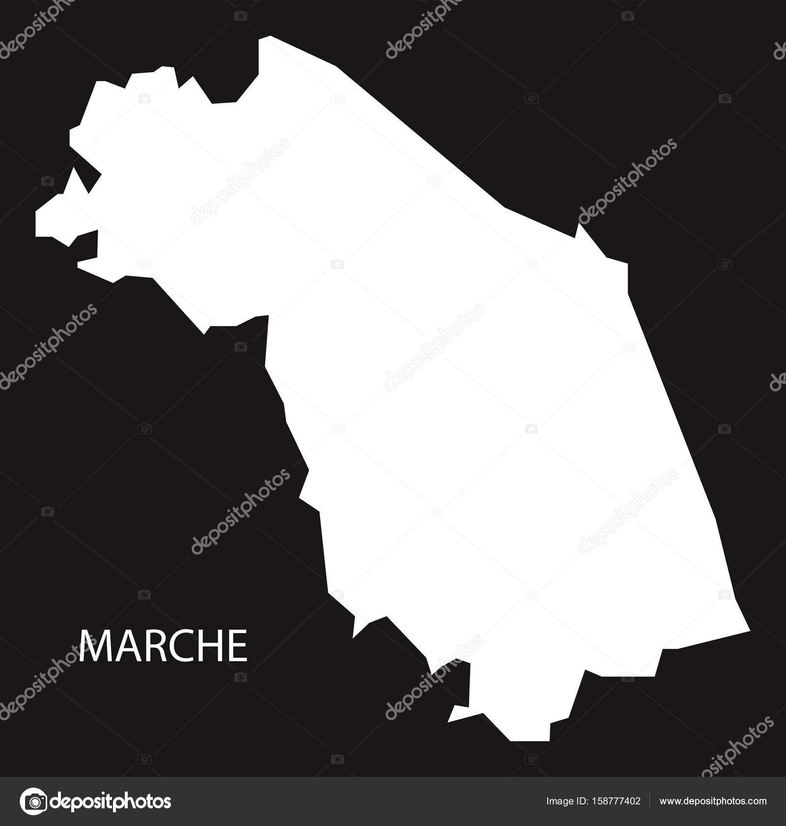 marche karta Marche Italien karta svart inverterad siluett — Stock Vektor  marche karta