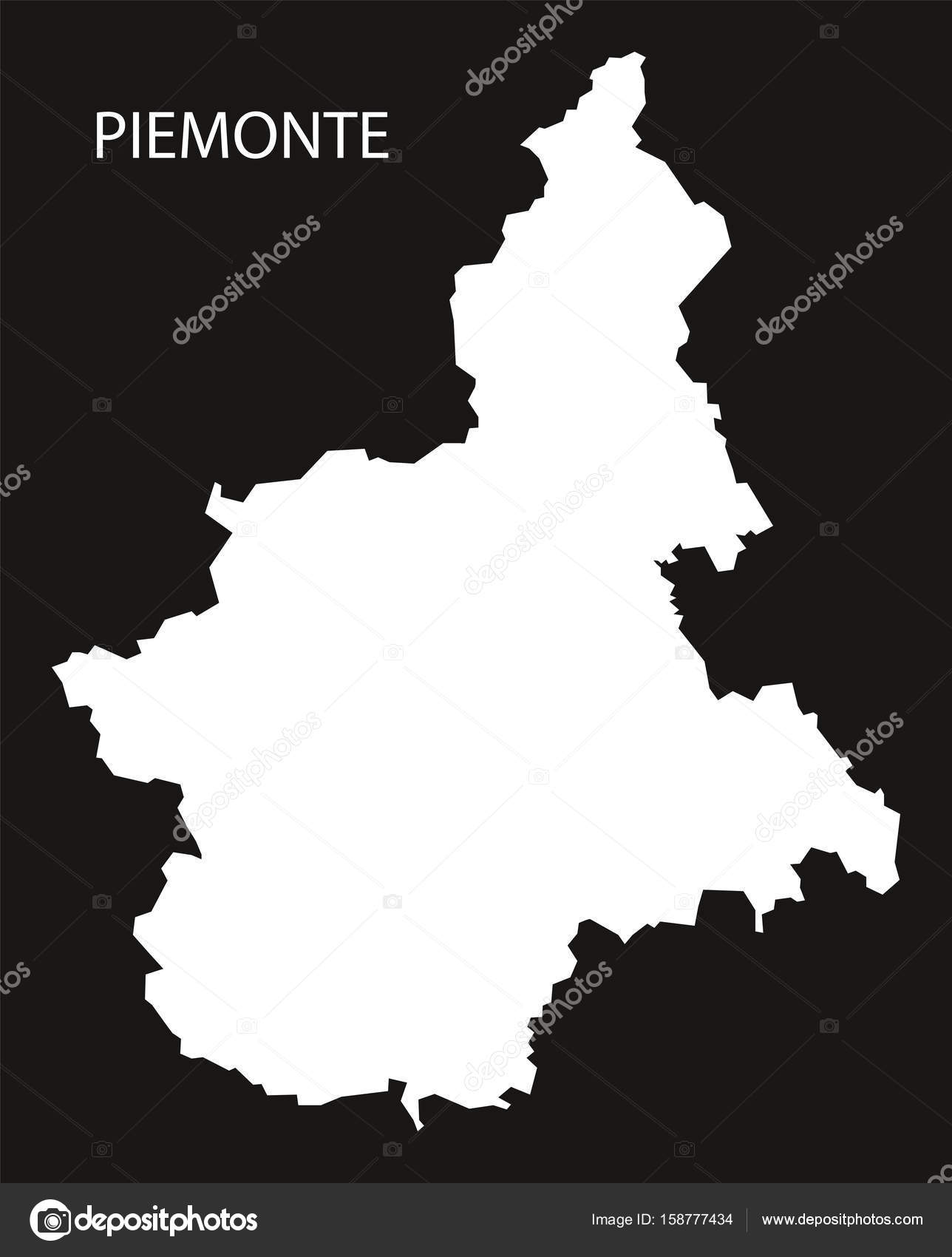 Piemonte Italy Map Black Inverted Silhouette Stock Vector