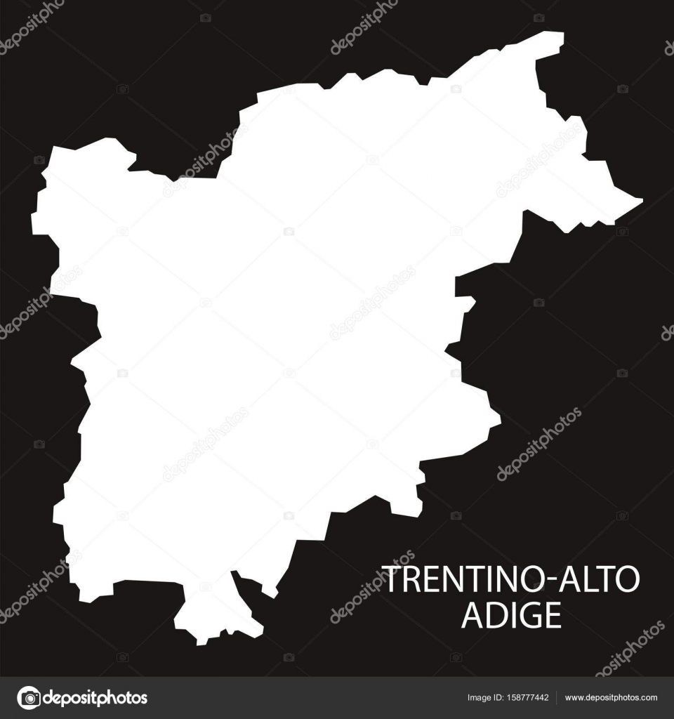 TrentinoAlto Adige Italy Map black inverted silhouette Stock