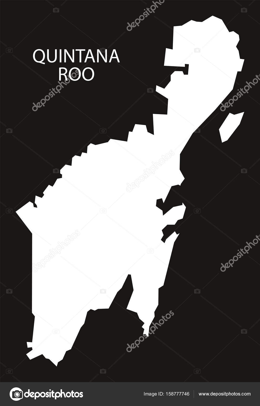 Quintana Roo Mexico Map black inverted silhouette — Stock Vector on