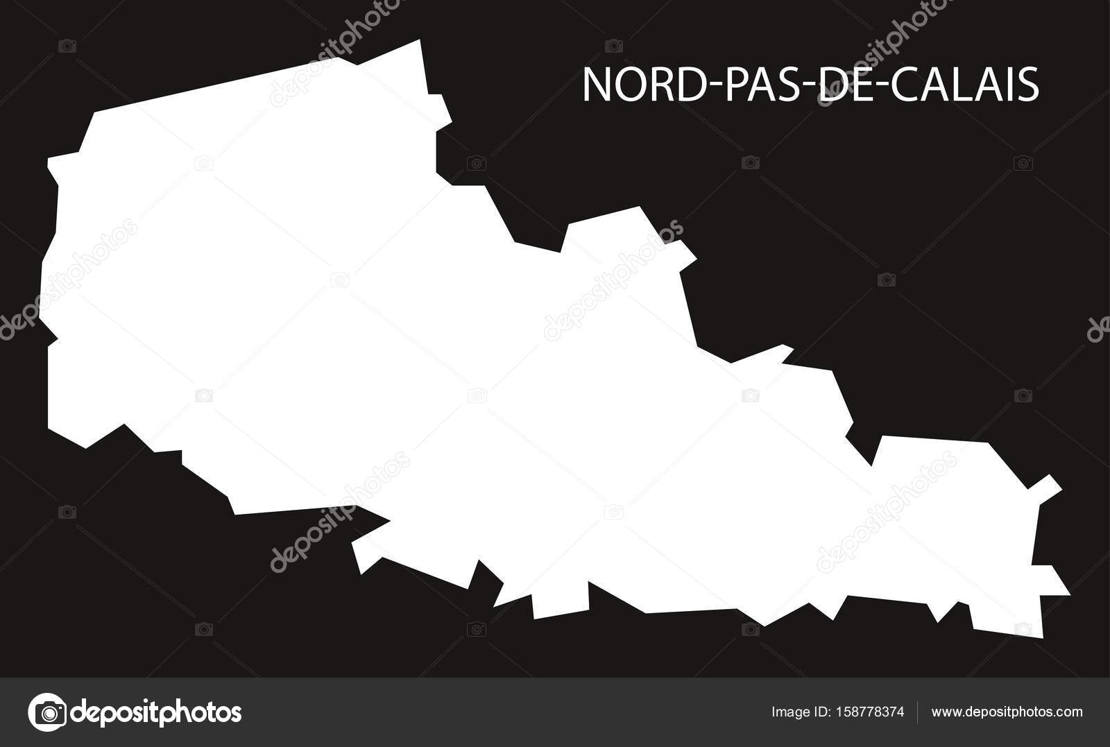 NordPasdeCalais France map black inverted silhouette illustra