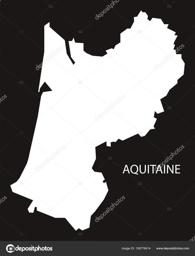 Aquitaine France Map Black Inverted Silhouette Illustration Stock