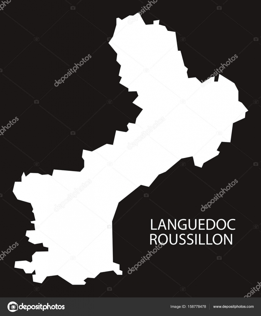 Roussillon France Map.Languedoc Roussillon France Map Black Inverted Silhouette Illust