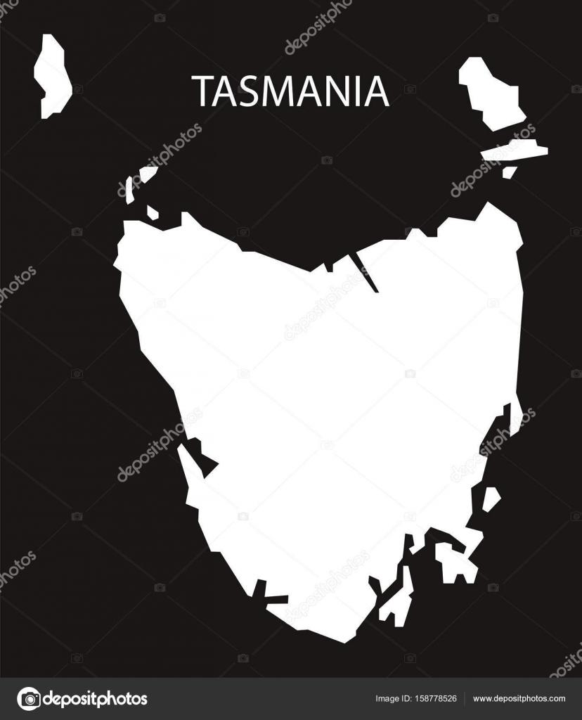 Carte Australie Inversee.Illustration De Tasmanie Australie Carte Noir Silhouette
