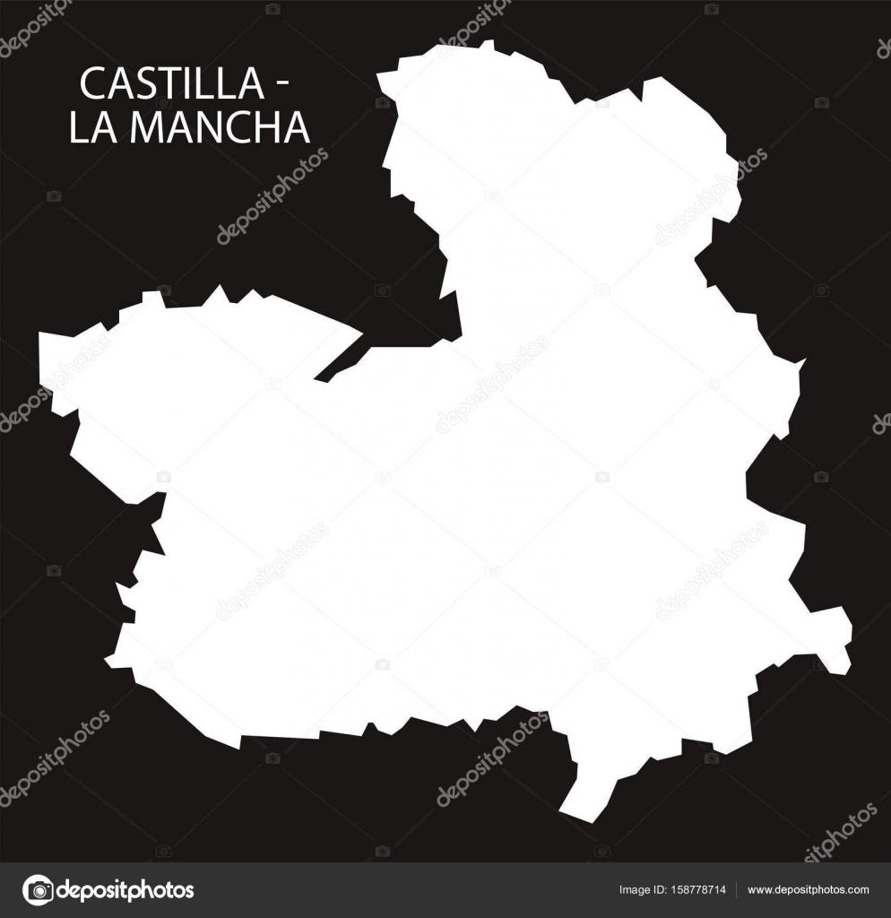 Castilla La Mancha Spain map black inverted silhouette illustr