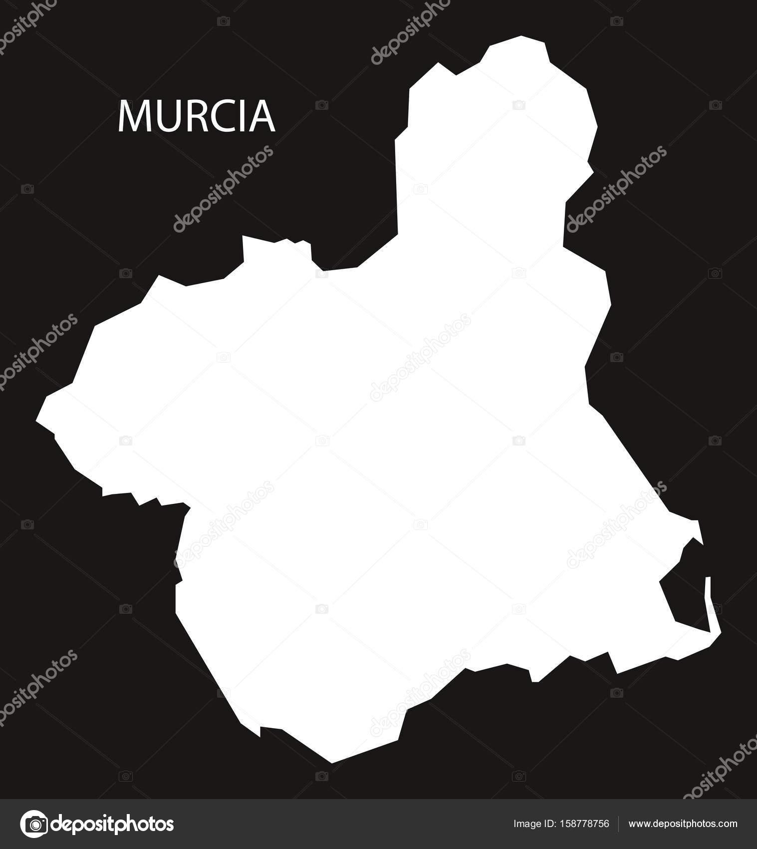 murcia karta Murcia Spanien karta svart inverterad siluett illustration — Stock  murcia karta