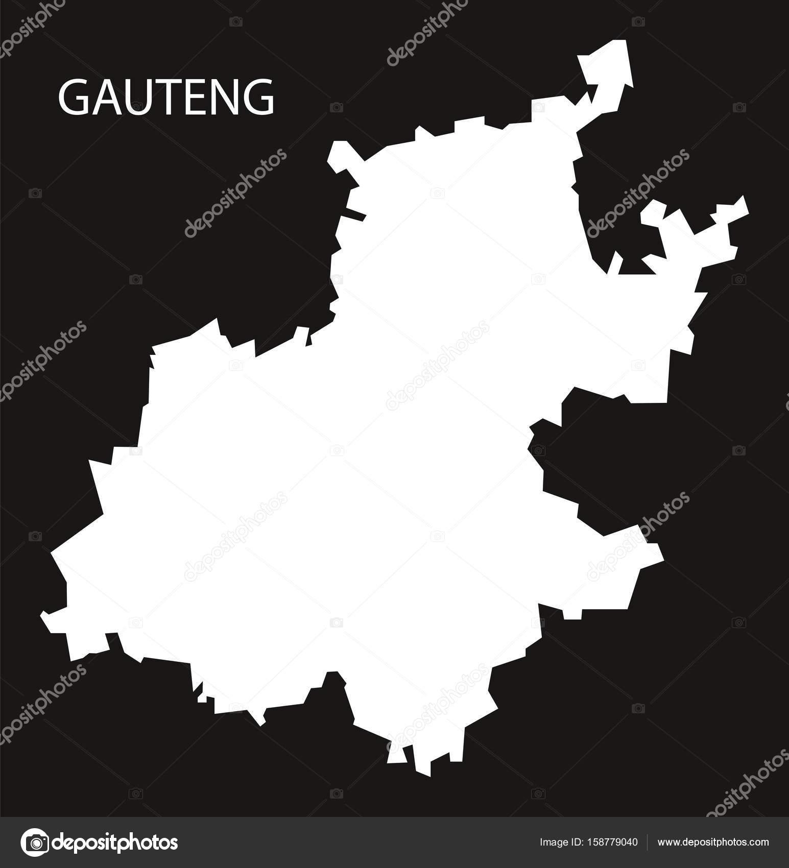 ハウテン州南アフリカ地図黒反転...