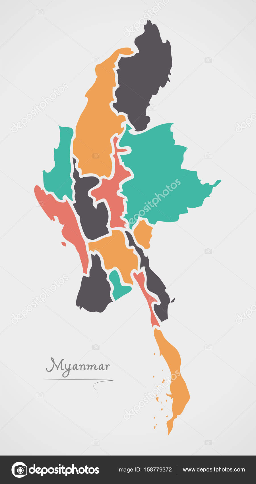 Myanmar map with states and modern round shapes stock vector myanmar map with states and modern round shapes stock vector gumiabroncs Choice Image