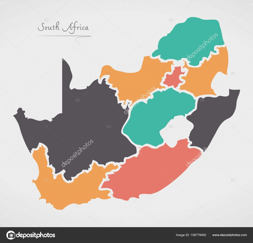 South Africa Map with states and modern round shapes Stock Vector