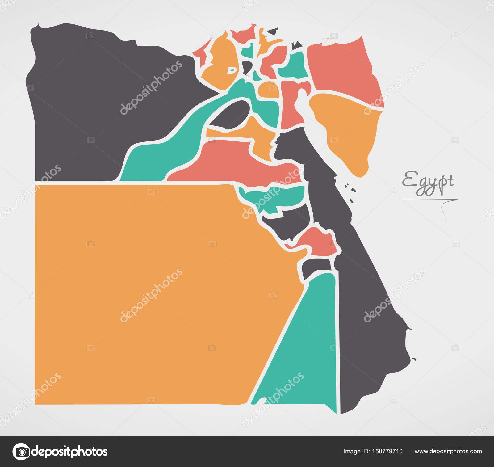 Cartina Egitto Moderno.Mappa Di Egitto Con Gli Stati E Moderne Forme Rotonde