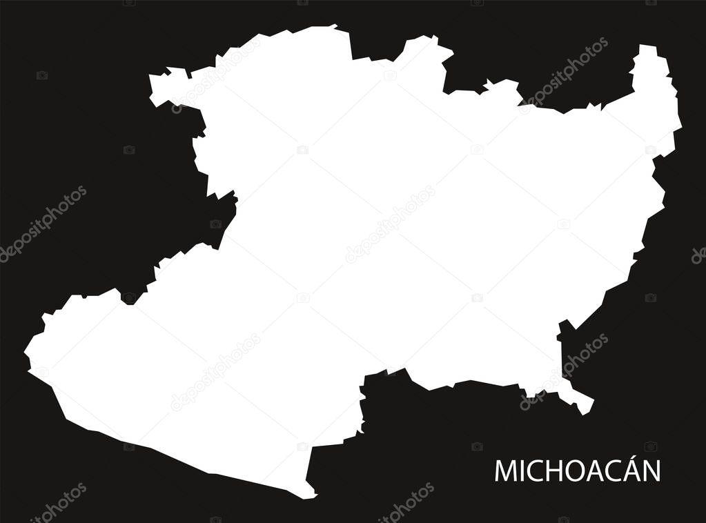Icono Mapa Mexico Png: Mapa De Michoacan Mexico Negro Invertido Silueta
