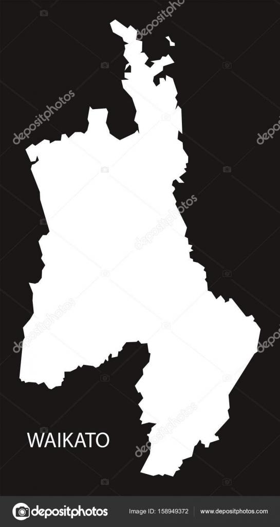 Waikato New Zealand Map.New Zealand Silhouette Waikato New Zealand Map Black Inverted