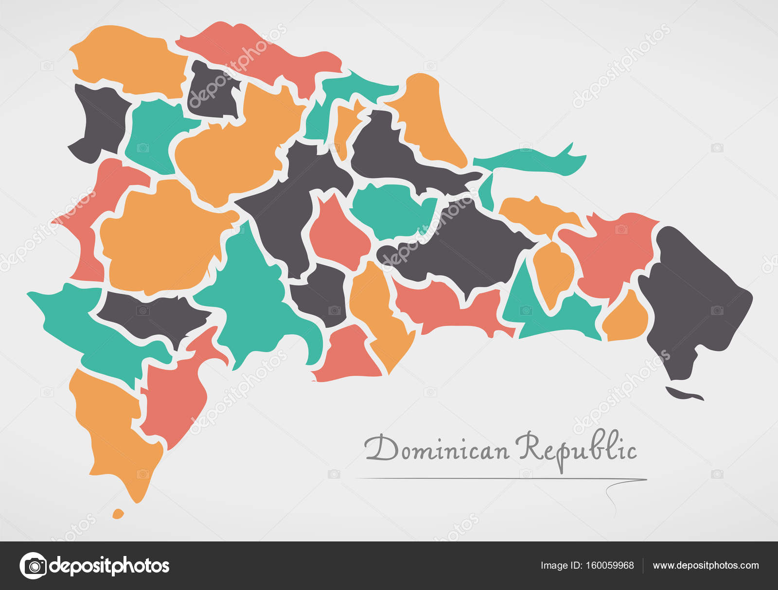 Dominican republic map with states and modern round shapes stock dominican republic map with states and modern round shapes stock vector gumiabroncs Image collections