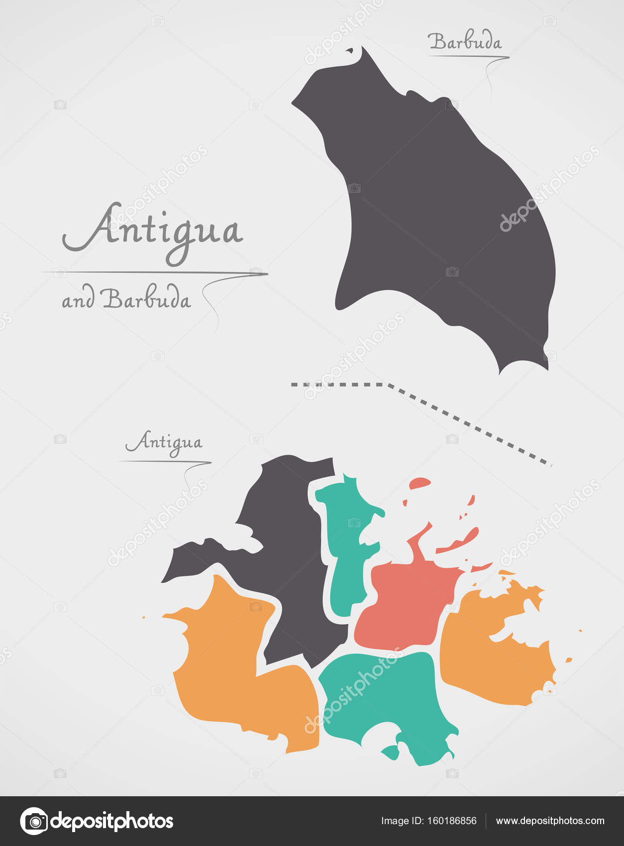 Antigua and Barbuda Map with states and modern round shapes Stock