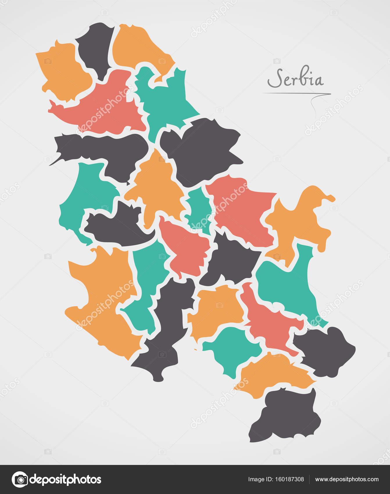 Serbien-Karte mit Staaten und moderne Runde Formen — Stockvektor ...