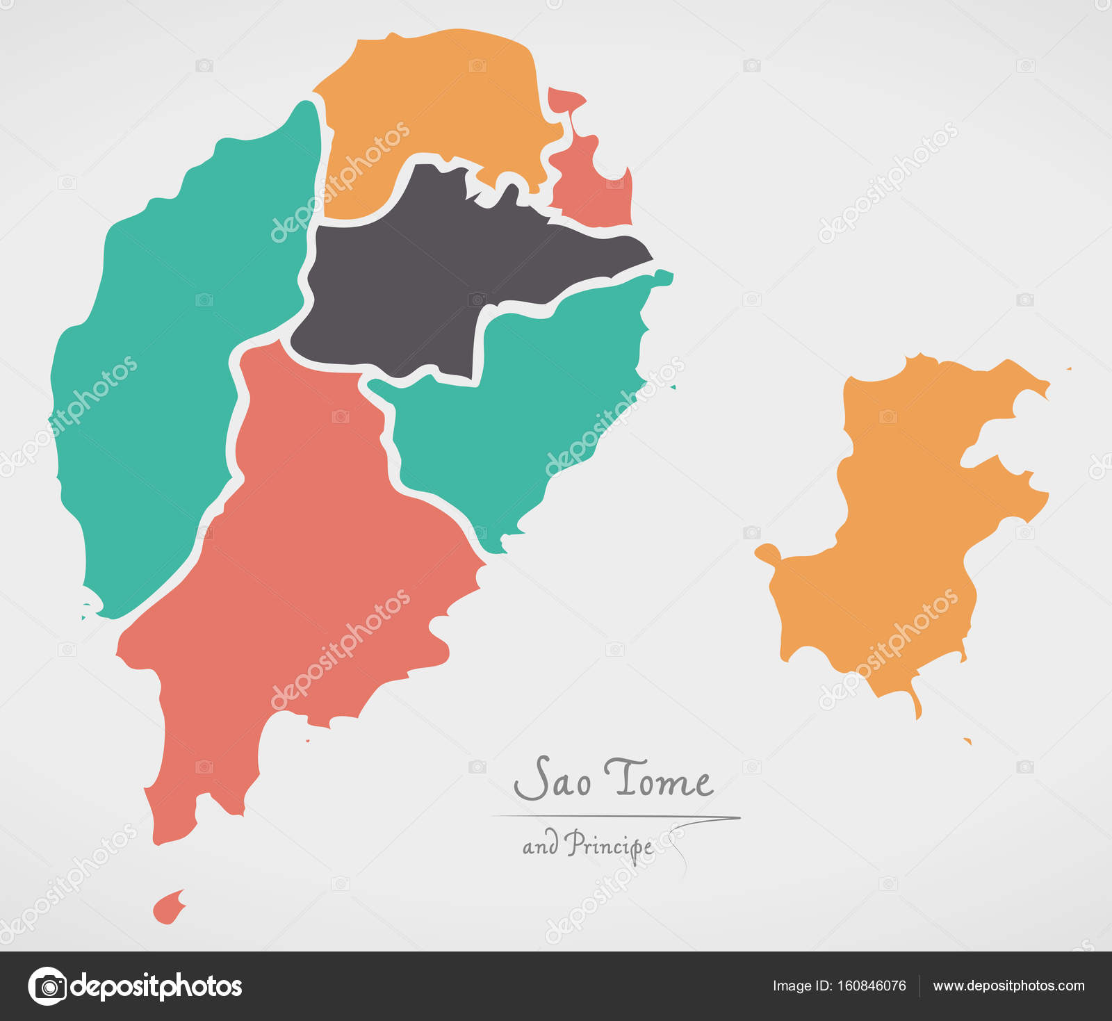 Sao Tome And Principe Map With States And Modern Round Shapes