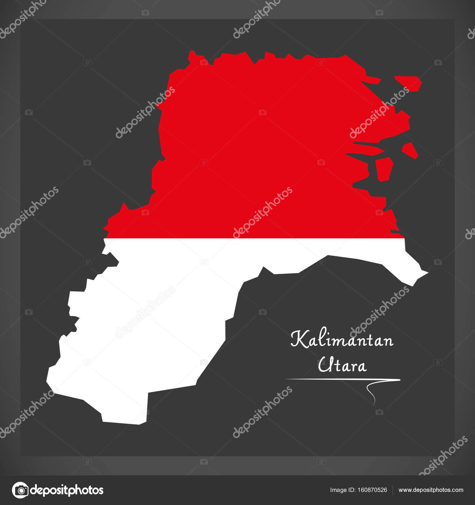 Kalimantan Utara Indonesia Map With Indonesian National Flag Ill - Ill map