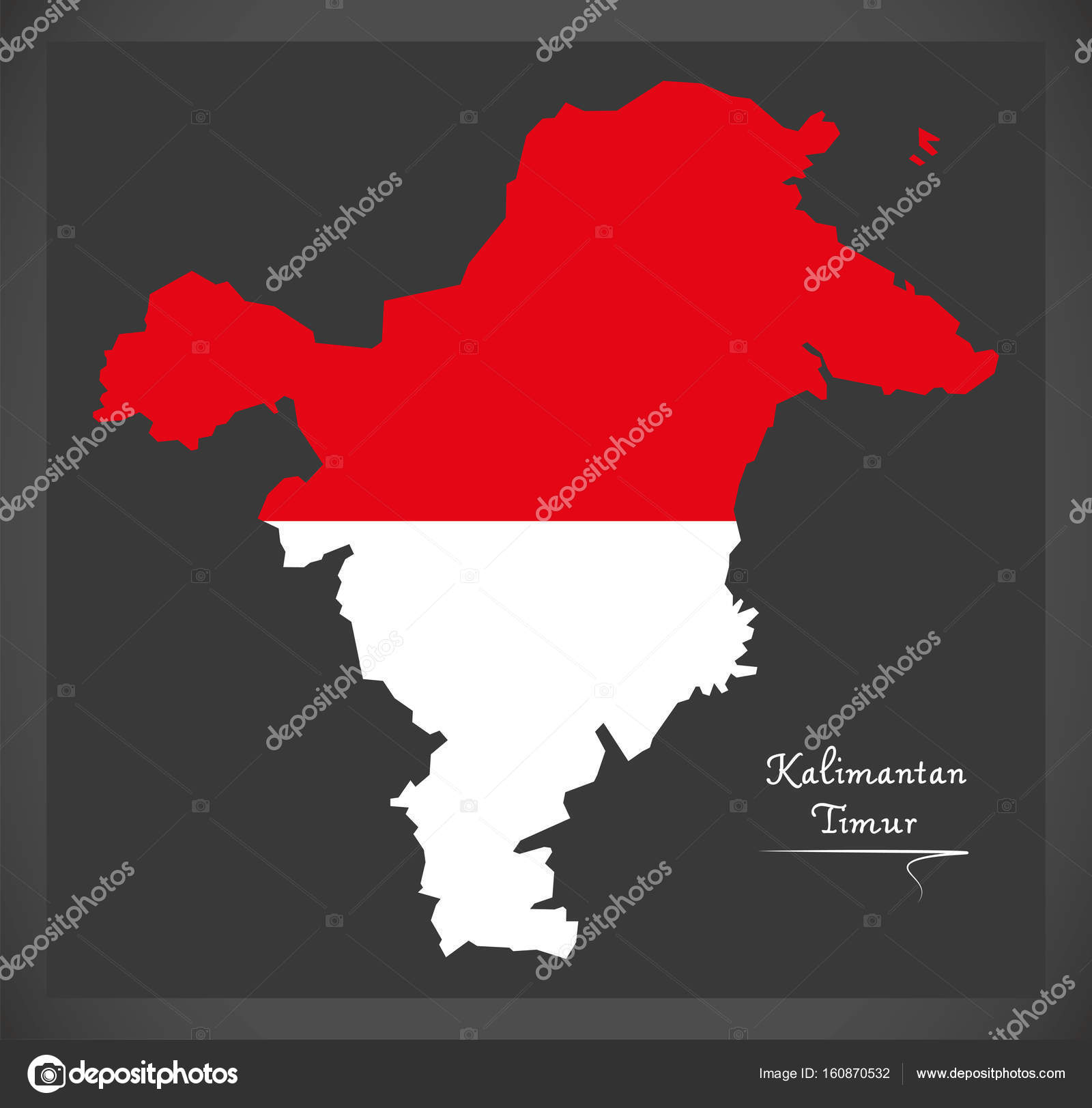 Kalimantan Timur Indonesia Map With Indonesian National Flag Ill - Ill map