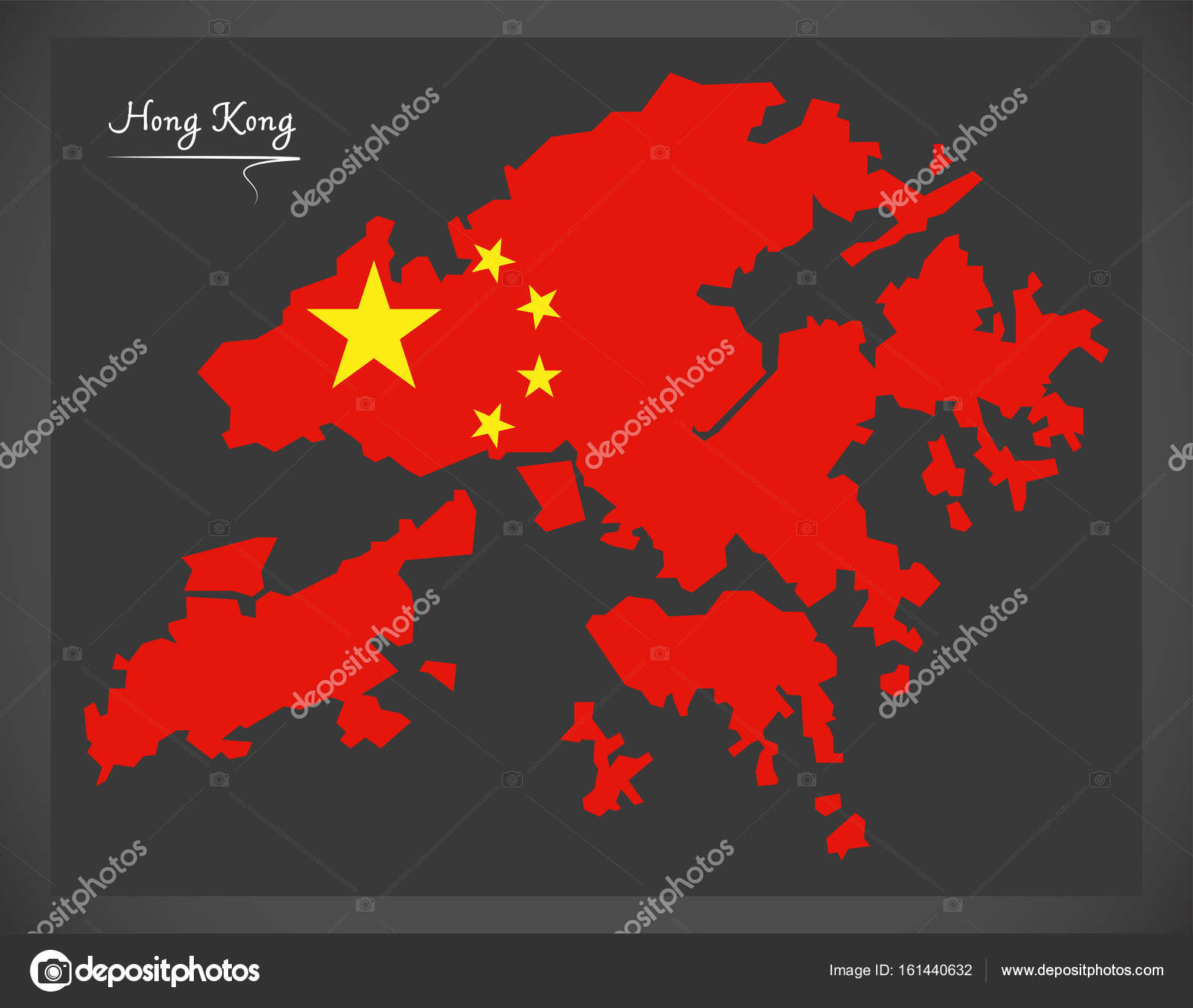 Hong Kong China map with Chinese national flag illustration Stock