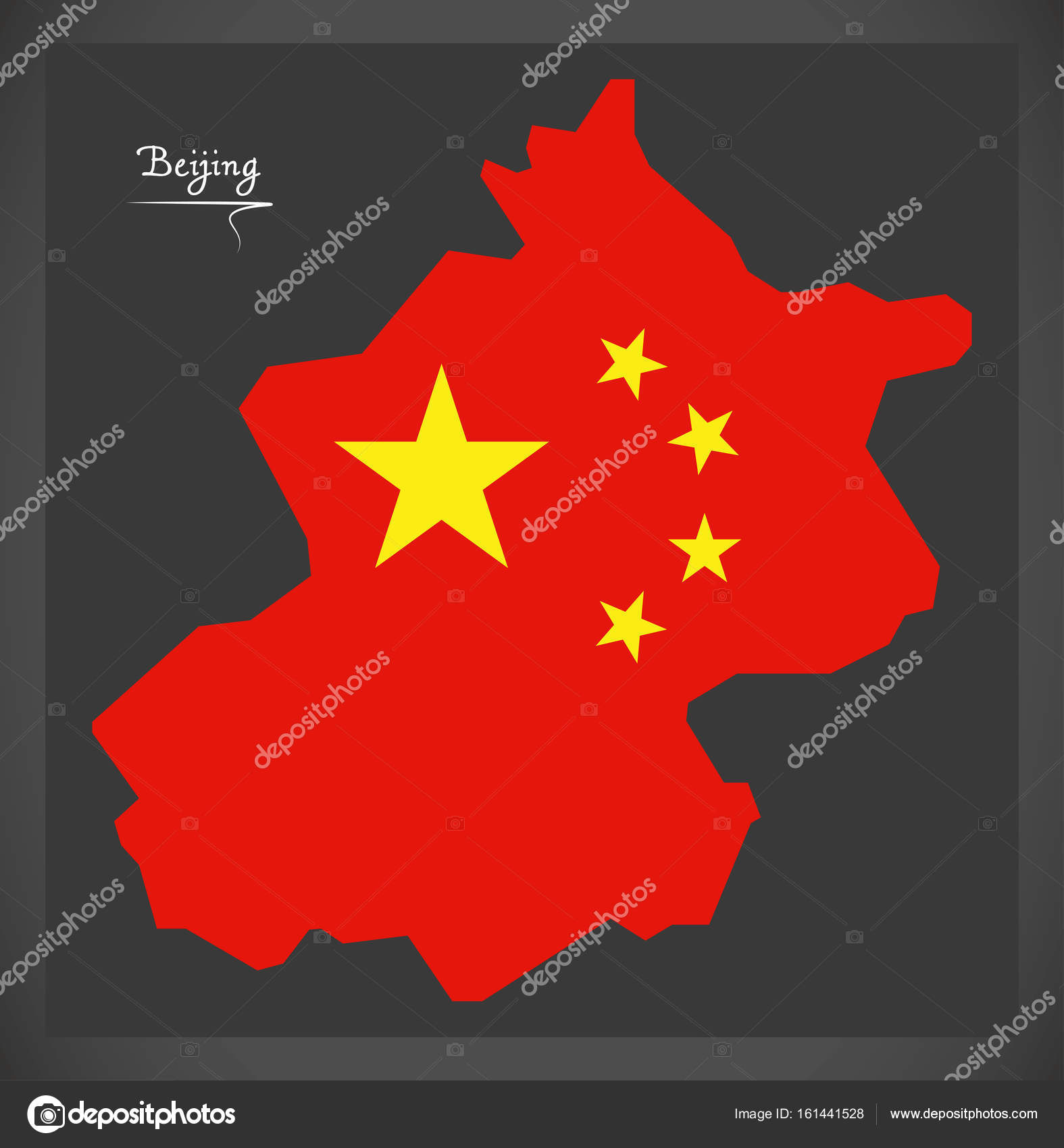 Beijing China Map With Chinese National Flag Illustration Stock
