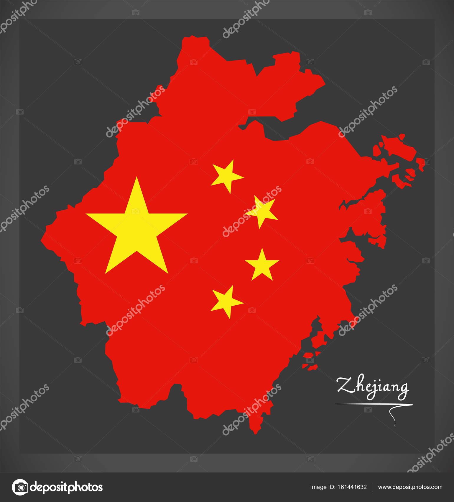 Zhejiang China Map With Chinese National Flag Illustration Stock