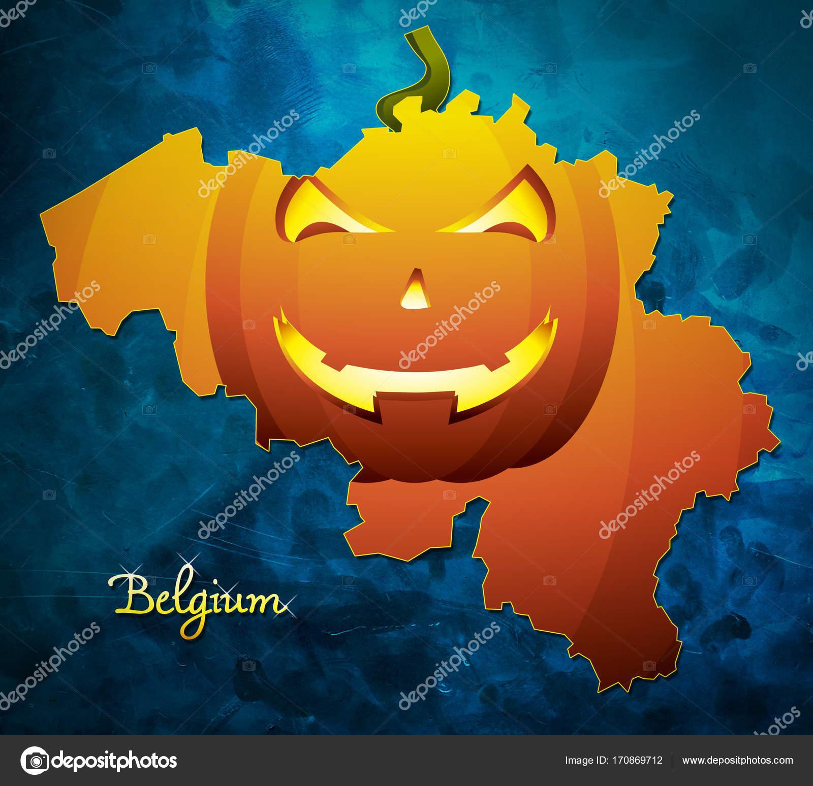 Halloween In Belgie.Belgie Halloween Kaart Illustratie Met Pompoen Gezicht