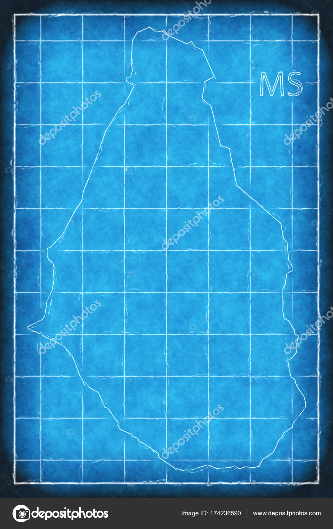 Montserrat map blue print artwork illustration silhouette — Stock