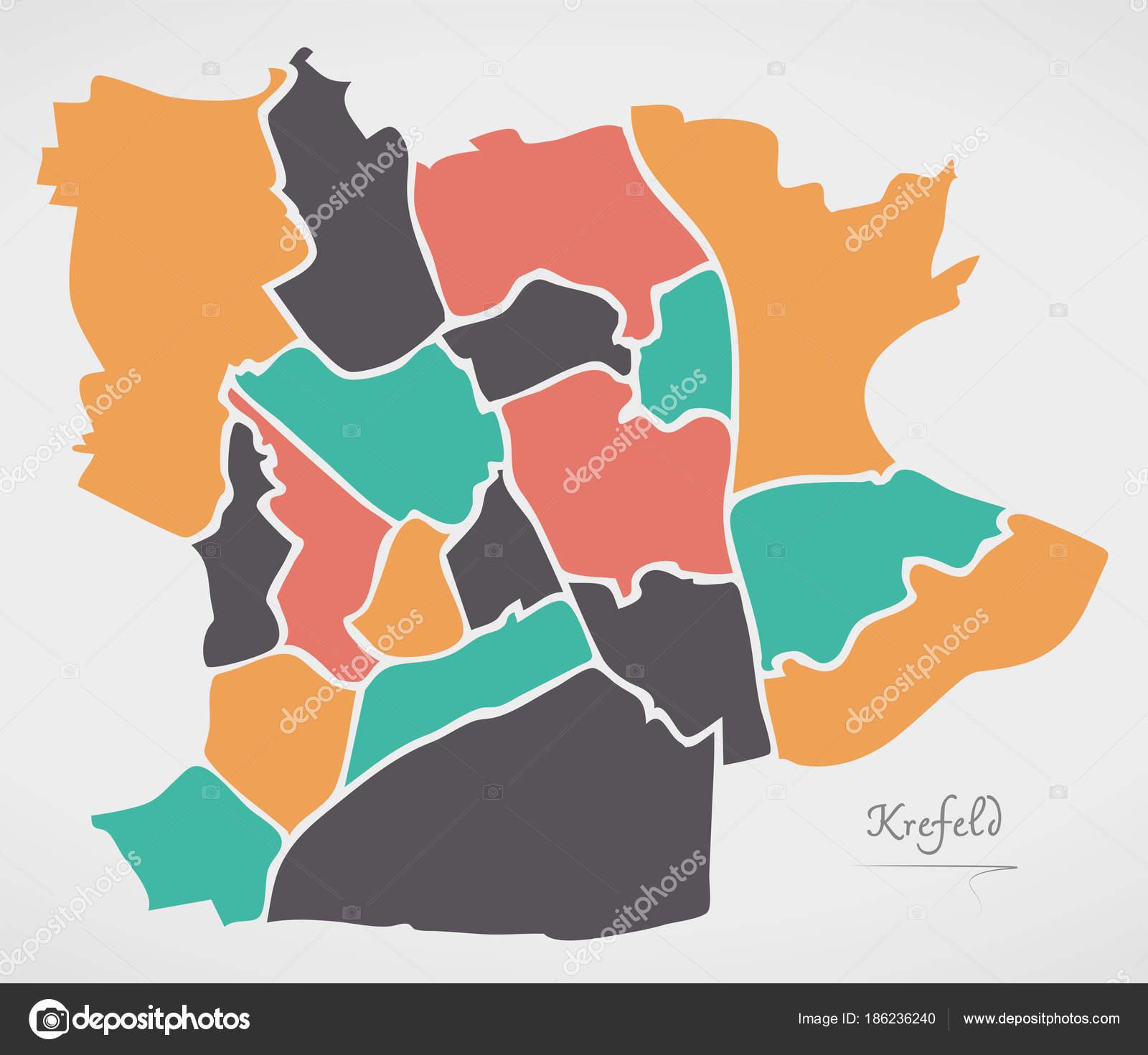 Krefeld Karte.Krefeld Karte Mit Stadtbezirken Und Moderne Runde Formen