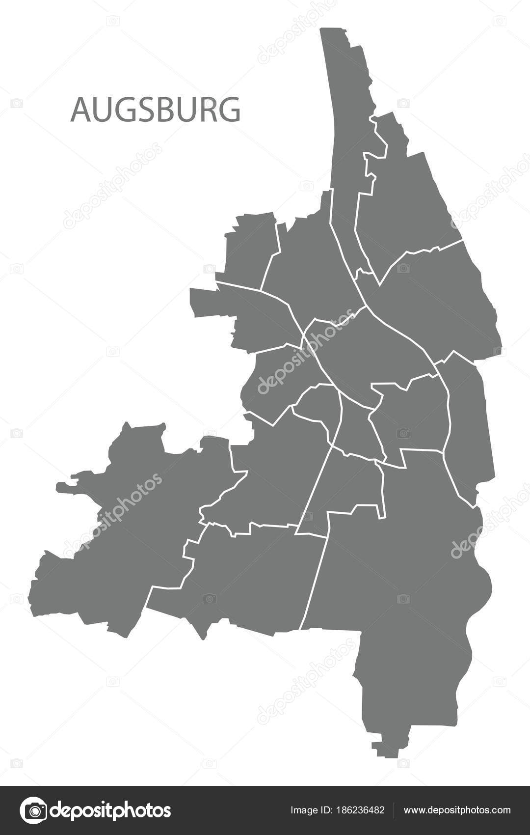 Augsburg city map with boroughs grey illustration silhouette sha