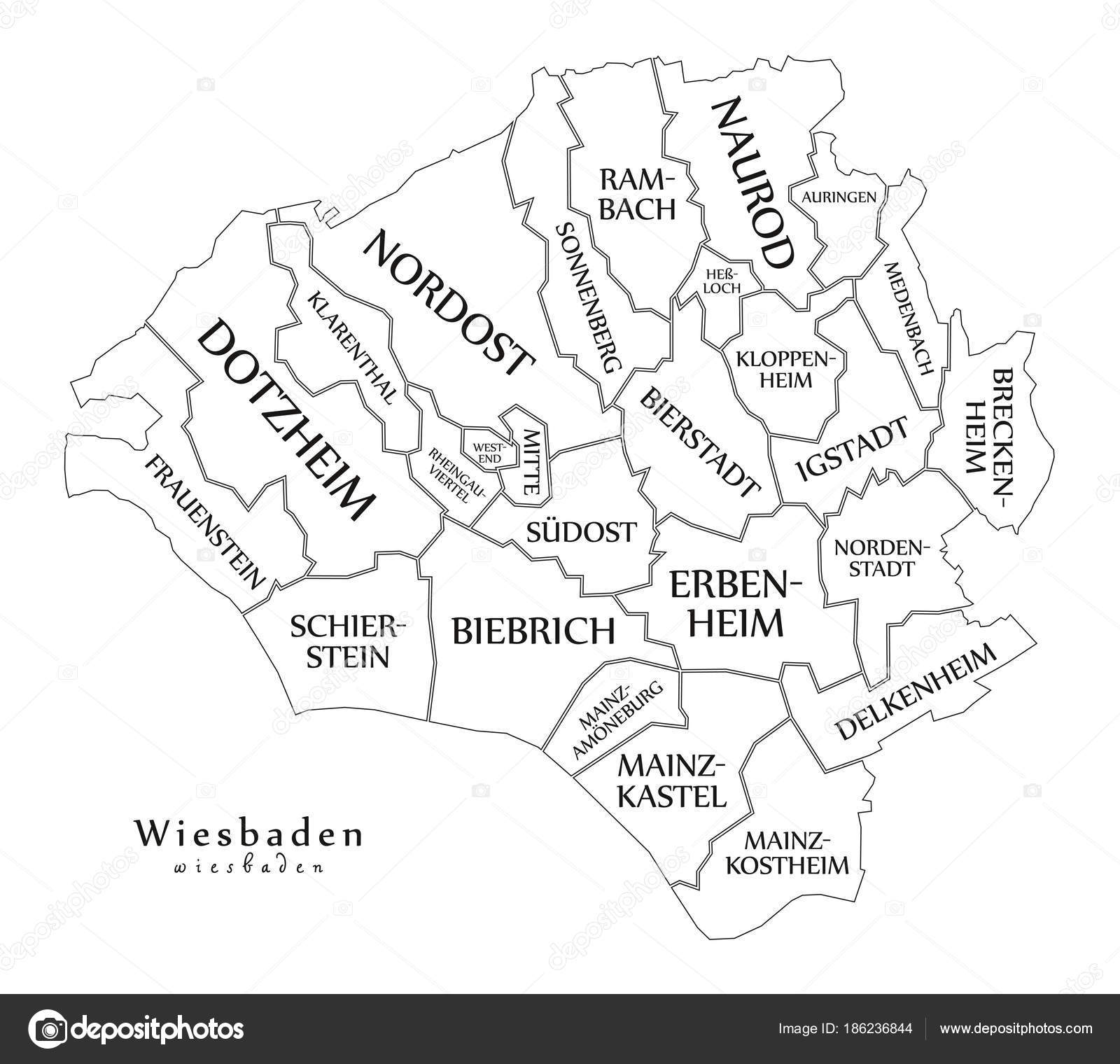 Modern City Map Wiesbaden city of Germany with boroughs and ti