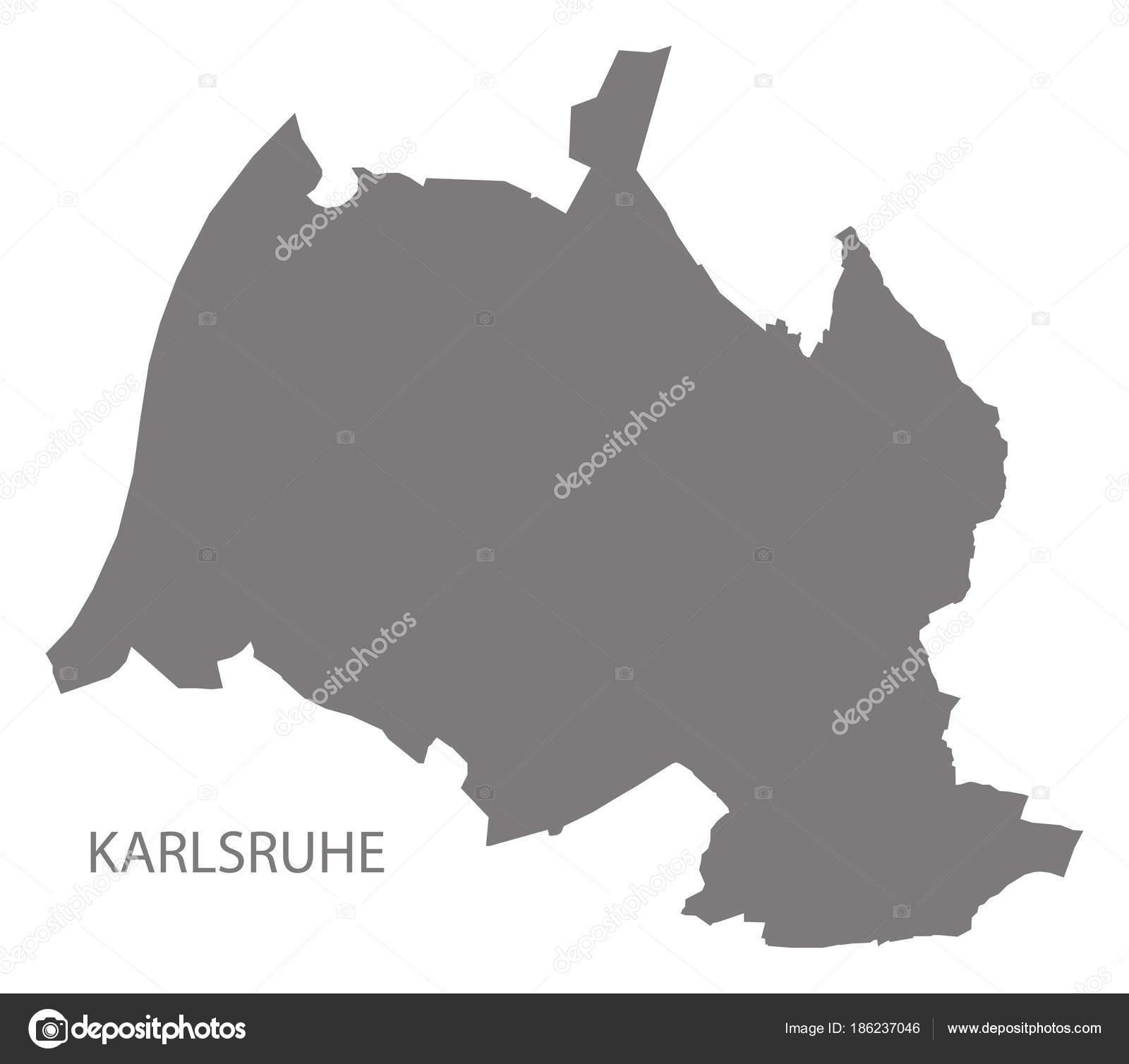 Karlsruhe Karte.Karlsruhe Stadt Karte Grau Abbildung Silhouette Form Stockvektor