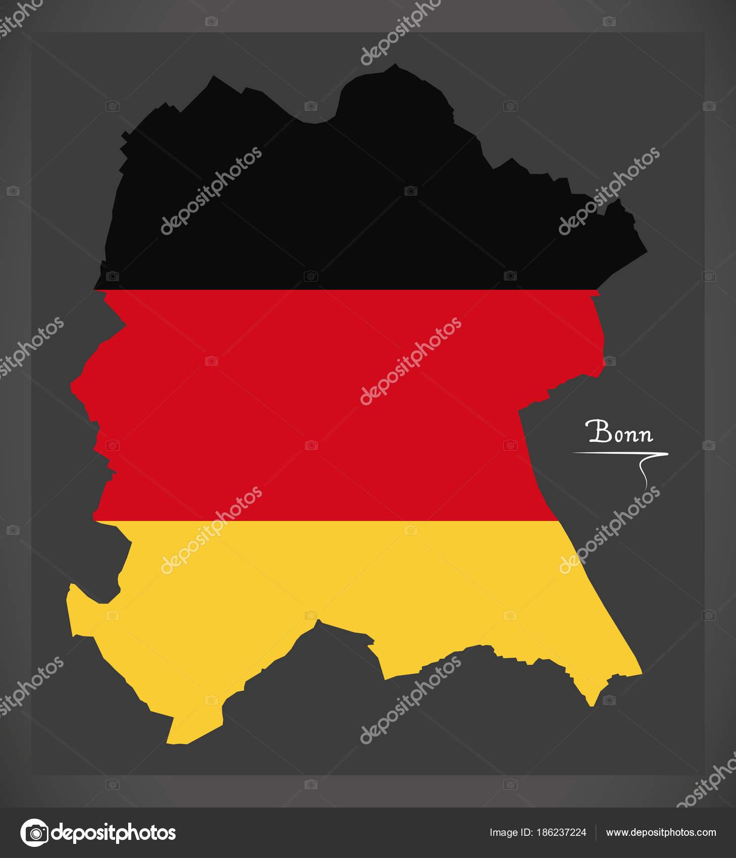 Bonn Karte.Bonn Karte Mit Deutschen Nationalflagge Illustration Stockvektor