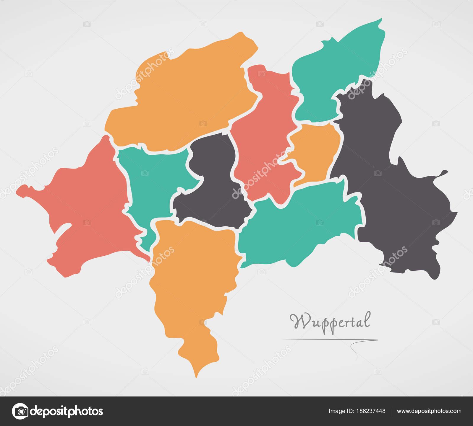 Wuppertal Karte Stadtteile.Wuppertal Karte Mit Stadtbezirken Und Moderne Runde Formen