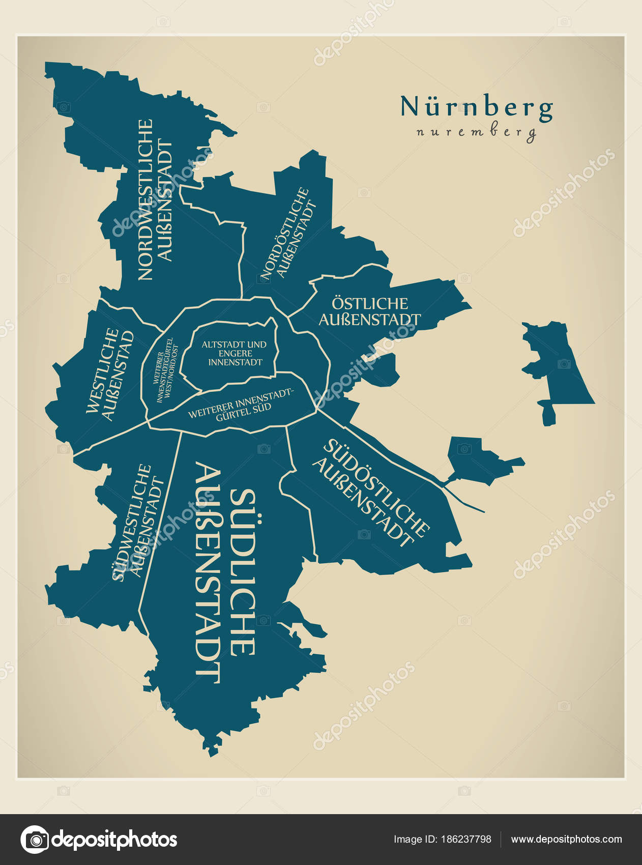 Modern City Map Nuremberg city of Germany with boroughs and ti
