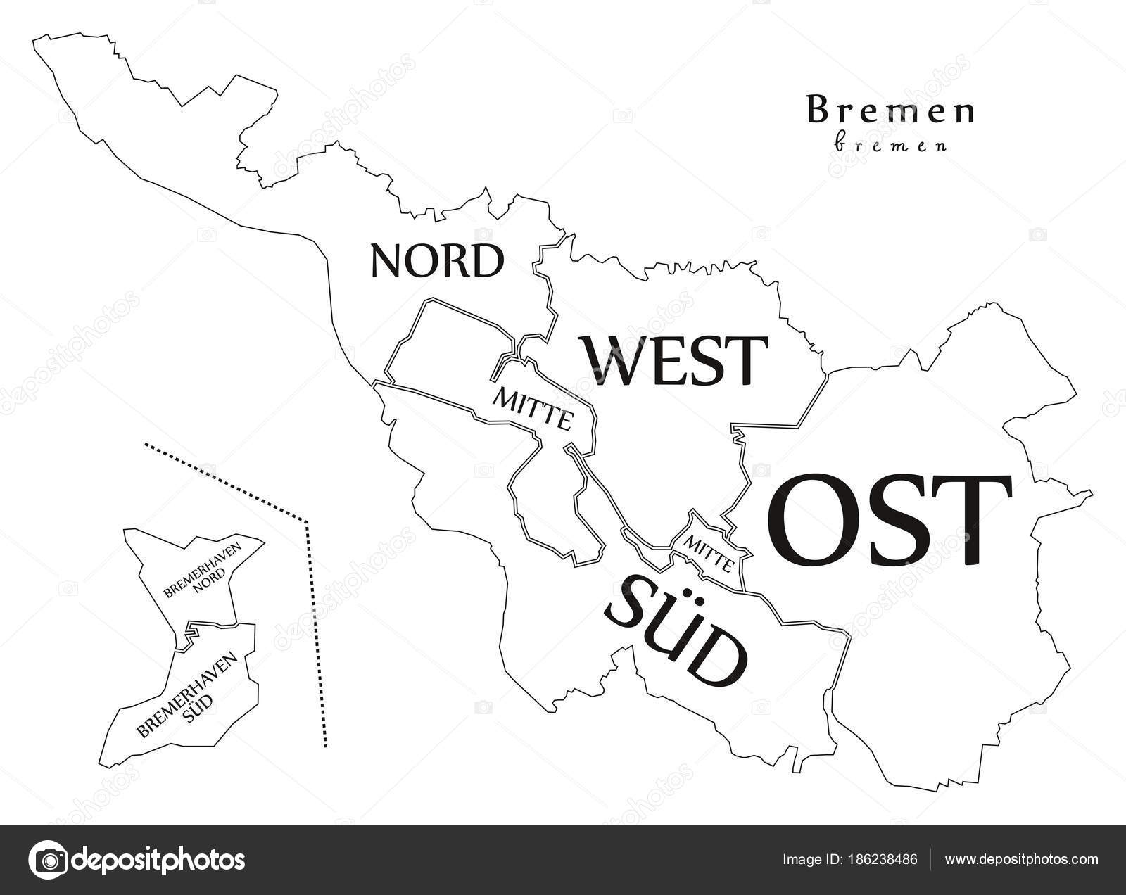 Modern City Map - Bremen city of Germany with boroughs and title ...