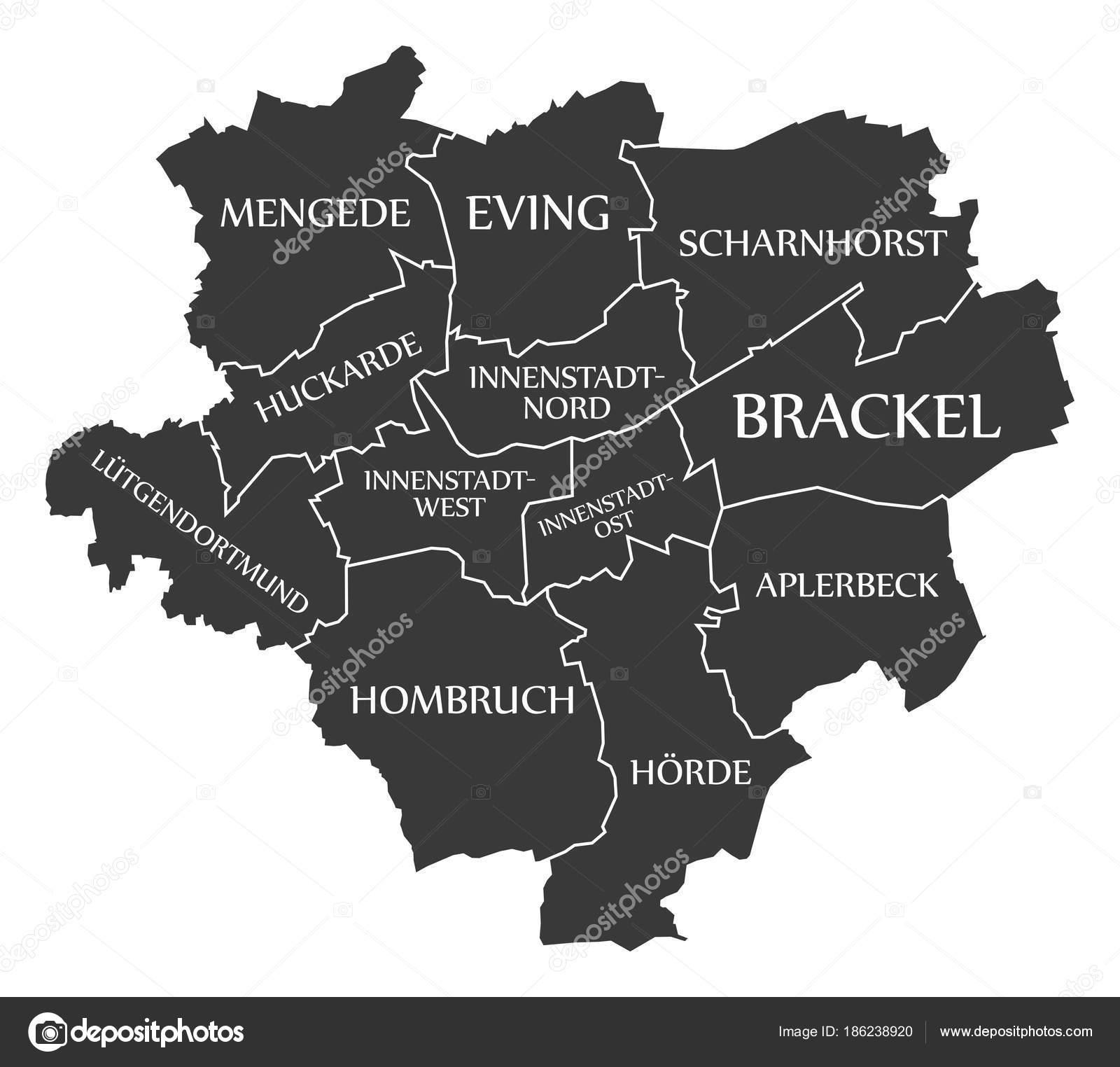dortmund city map germany de labelled black illustration stock vector