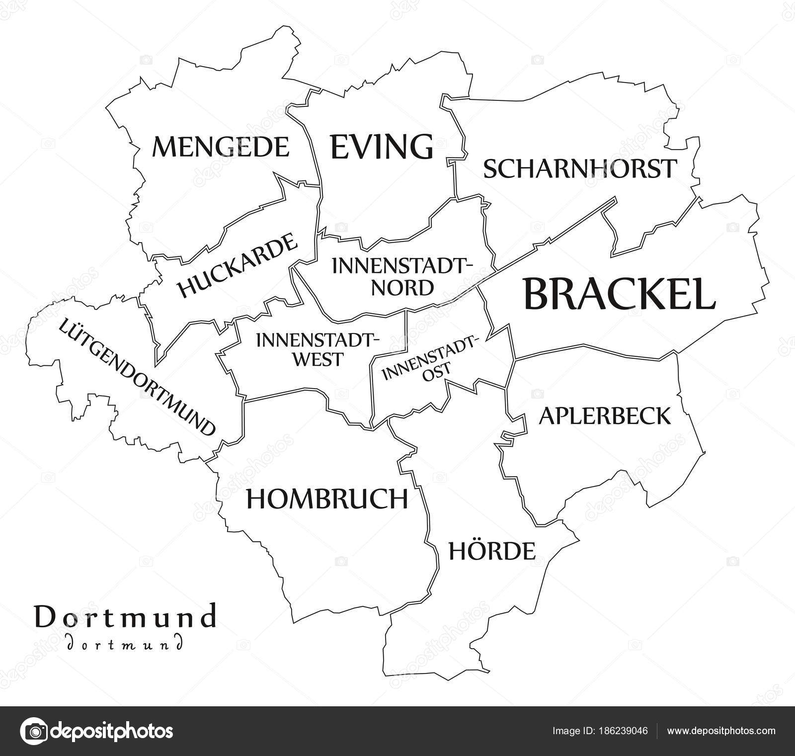 Modern City Map - Dortmund city of Germany with boroughs and ... on