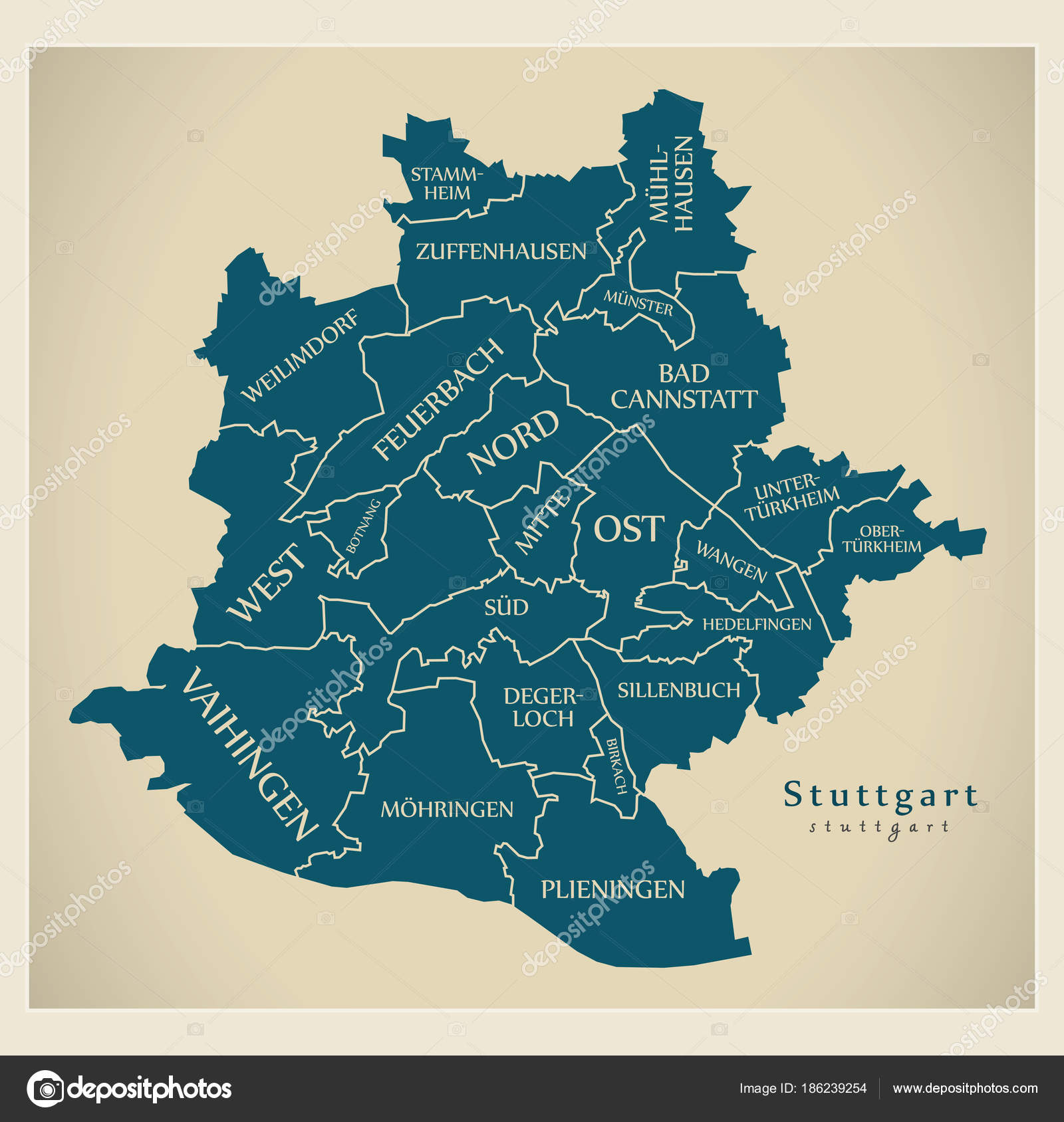 Modern City Map Stuttgart city of Germany with boroughs and ti