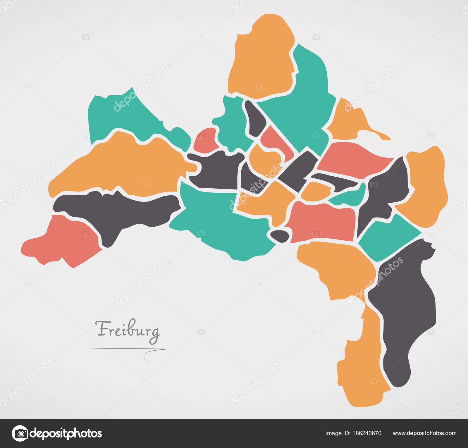 Freiburg Karte.Freiburg Karte Mit Stadtbezirken Und Moderne Runde Formen