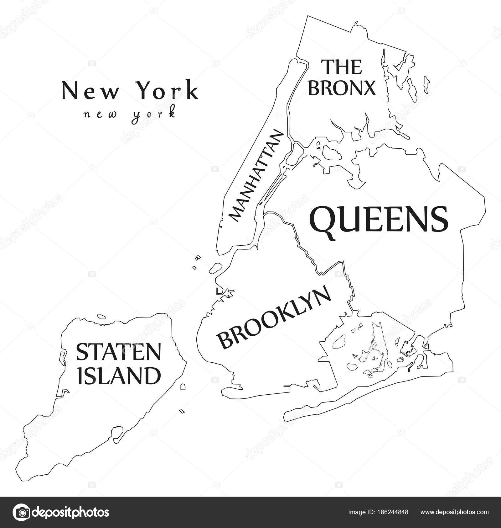 New York Map Boroughs.Modern City Map New York City Of The Usa With Boroughs And Tit