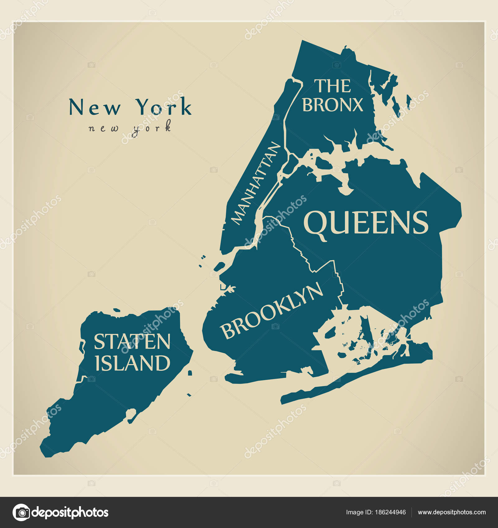 Modern City Map - New York city of the USA with boroughs and tit ...