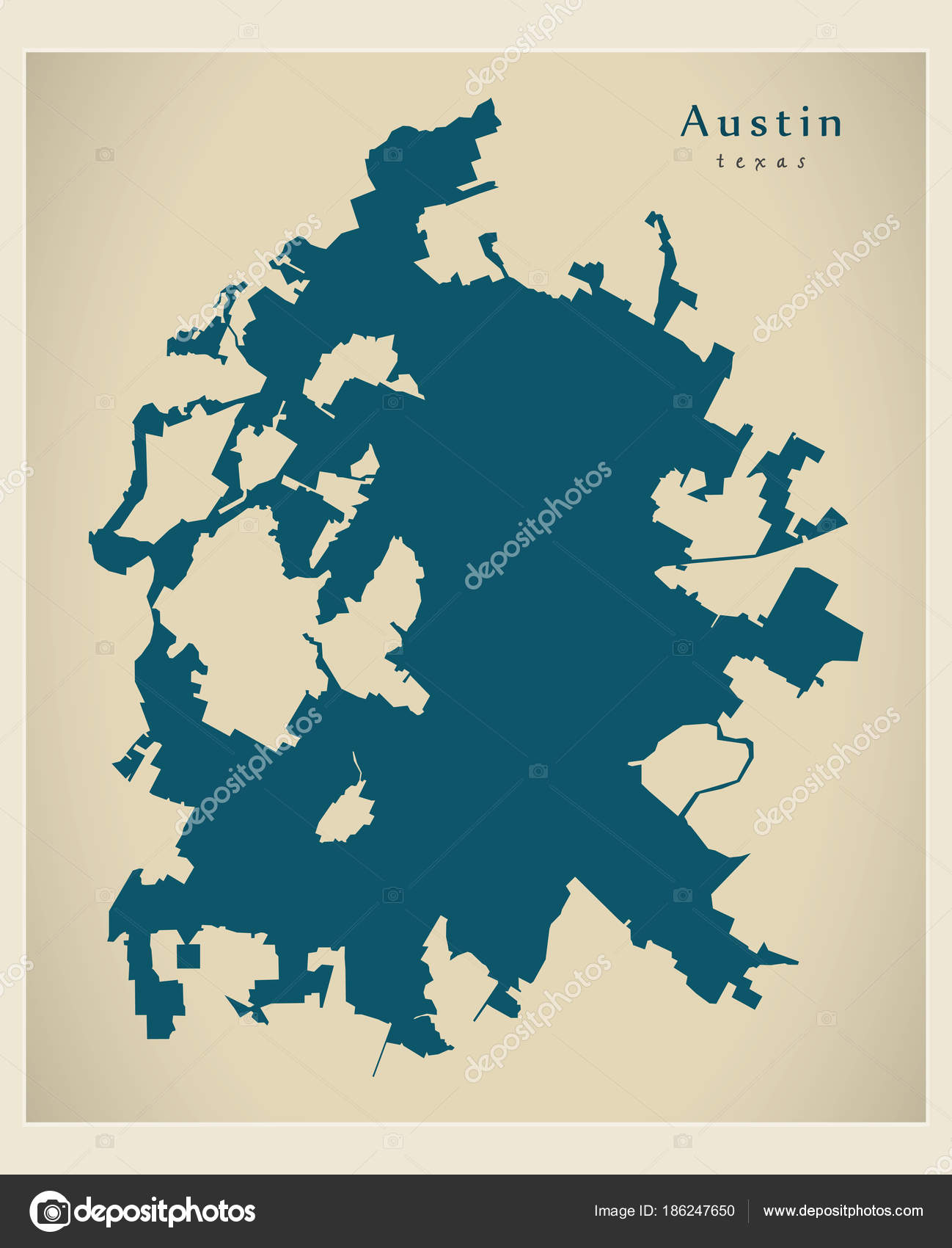 City Map Of Texas.Modern City Map Austin Texas City Of The Usa Stock Vector