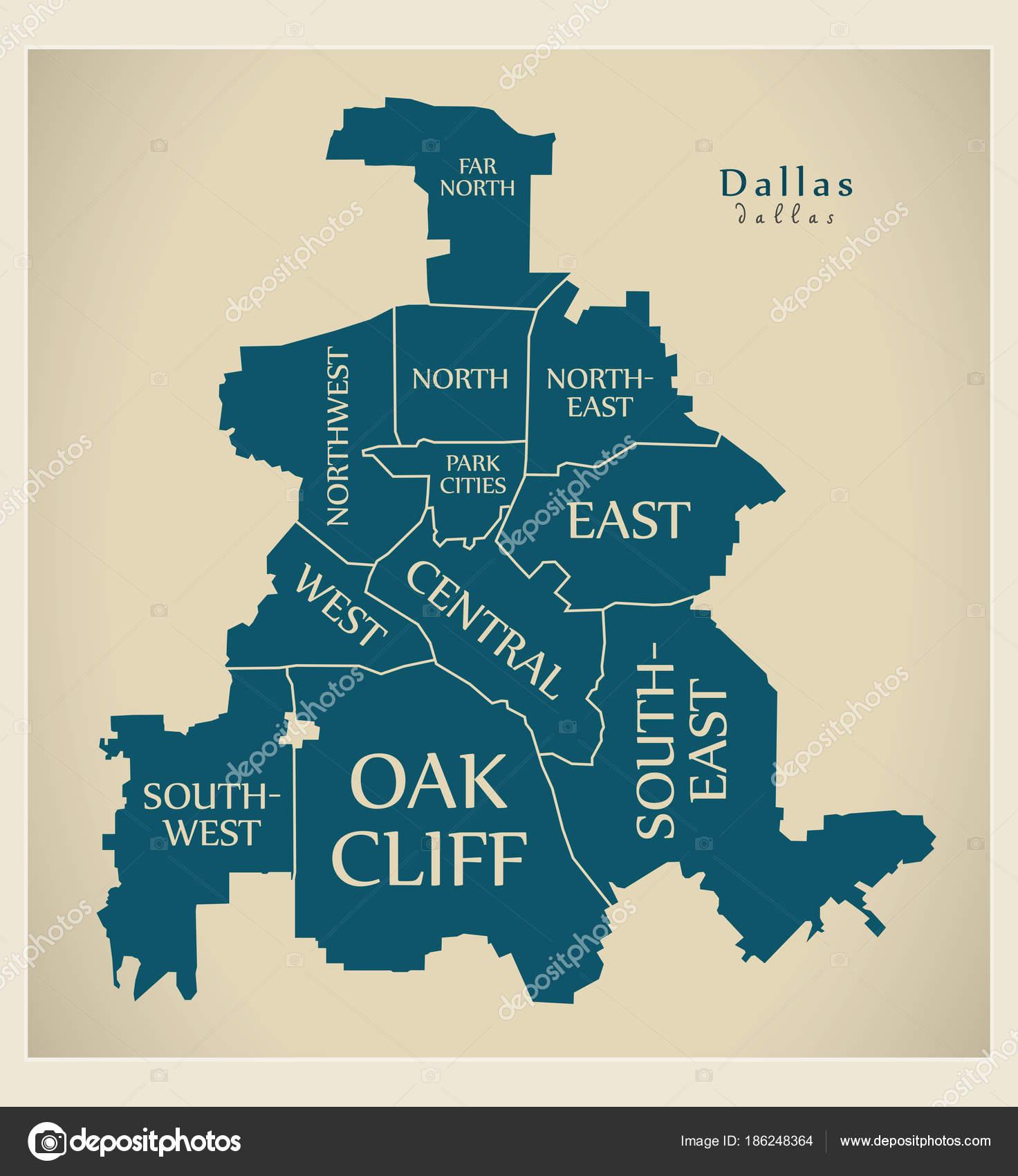 Moderne City Map - Dallas Texas Stadt der Usa mit Bezirken und ... on