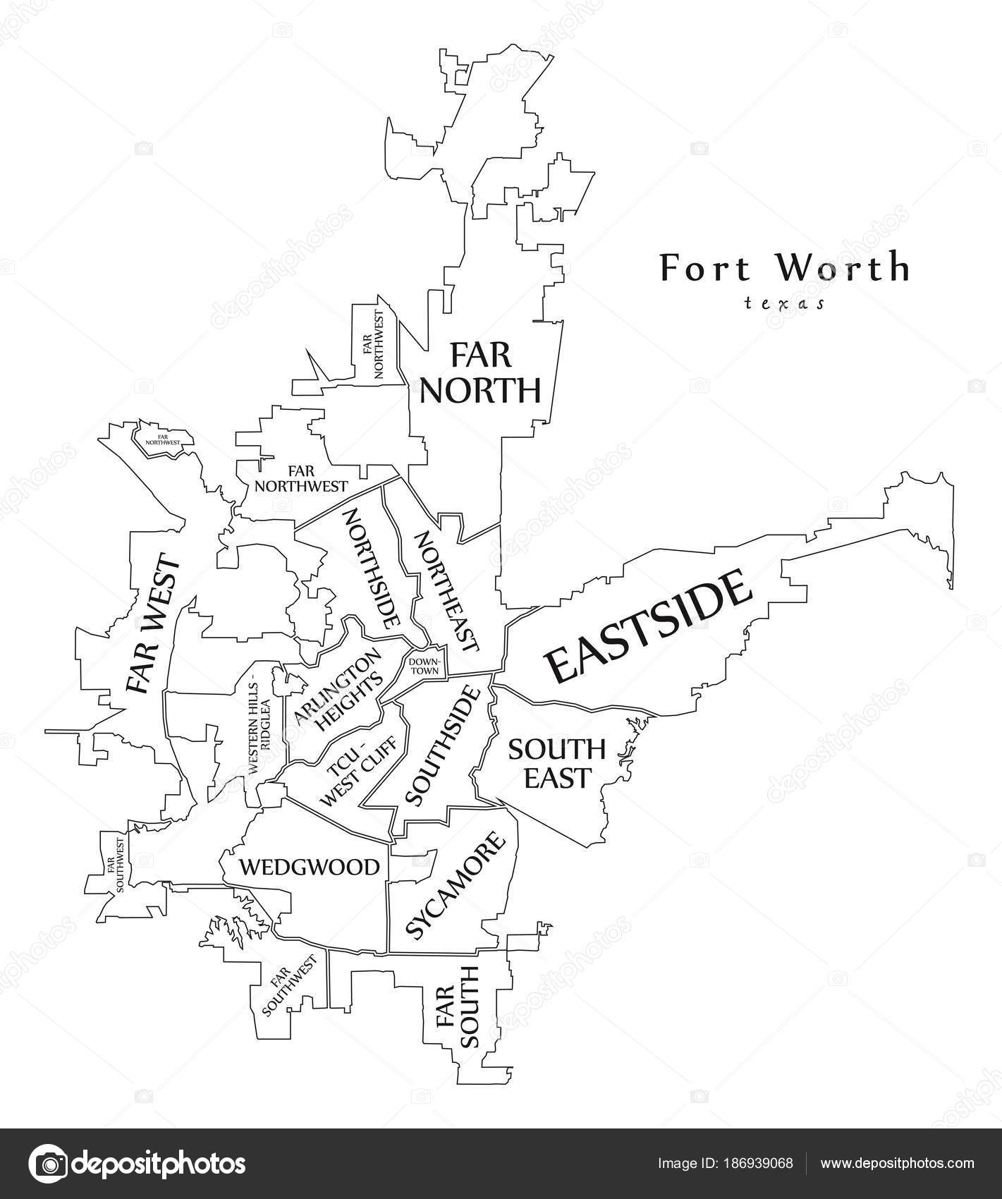 Modern City Map - Fort Worth Texas city of the USA neighborhoods ...